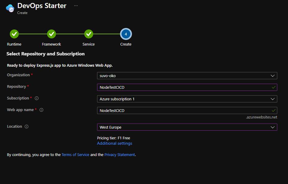 DevOps Starter Create